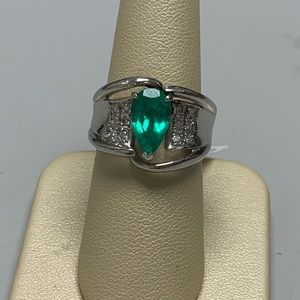 Jewelry - Ladies Platinum Emerald and Diamond Ring
